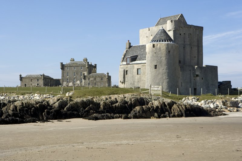 Breachacha House and Castle from beach to south east.