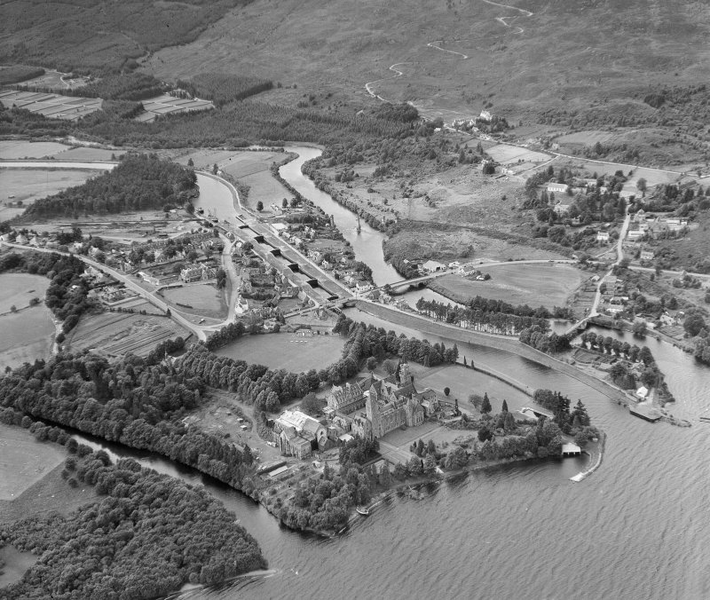Fort Augustus, village, abbey and locks, oblique aerial view.