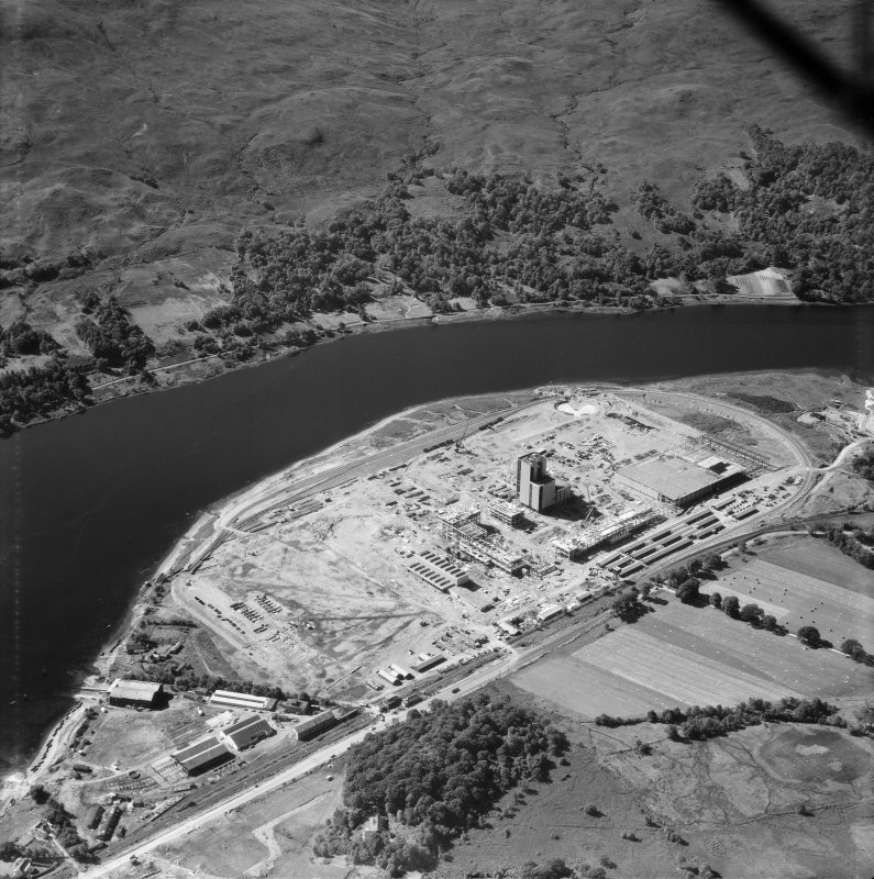 Corpach, oblique aerial view centred on the former Wiggins Teape pulp and paper mill, under construction with the Royal Navy Engineering Support Base, HMS St Christopher adjacent, taken from the NE.