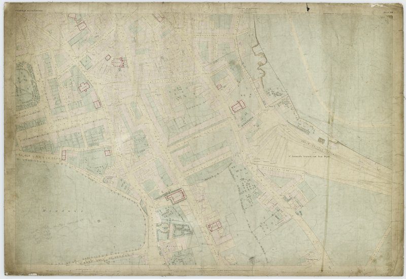 Digital image of First Edition 0S 1852 Edinburgh and its Environs (coloured) Sheet 40. The sheet covers an area  which includes the Meadows, West Crosscauseway and Newington.