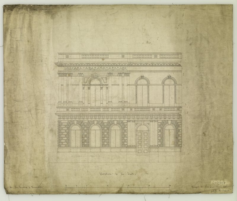 Elevation. Titled: 'Elevation to the East  For The Faculty of Procurators.  Glasgow  33 Bath Street.  April 1855.'