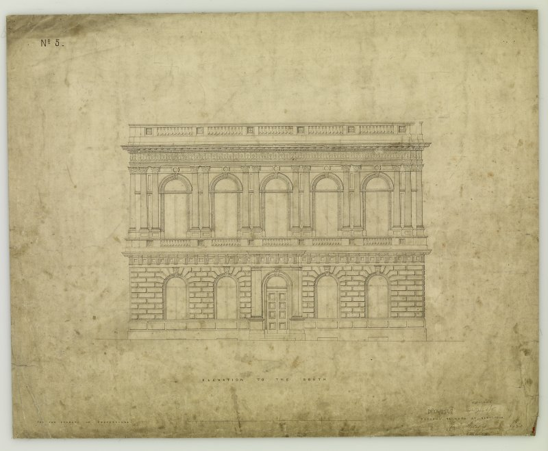 Elevation. Titled: 'Elevation to the South  For The Faculty of Procurators.  Glasgow  33 Bath Street. Septr. 1854.' Signed: 'Charles Wilson Architect'.