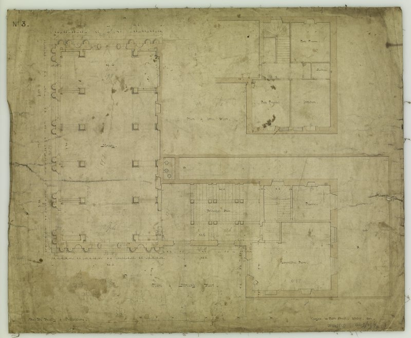 Annotated plan of library floor. Titled: 'Plan of Library Floor  For The Faculty of Procurators.  Glasgow  33 Bath Street.  October, 1854.'