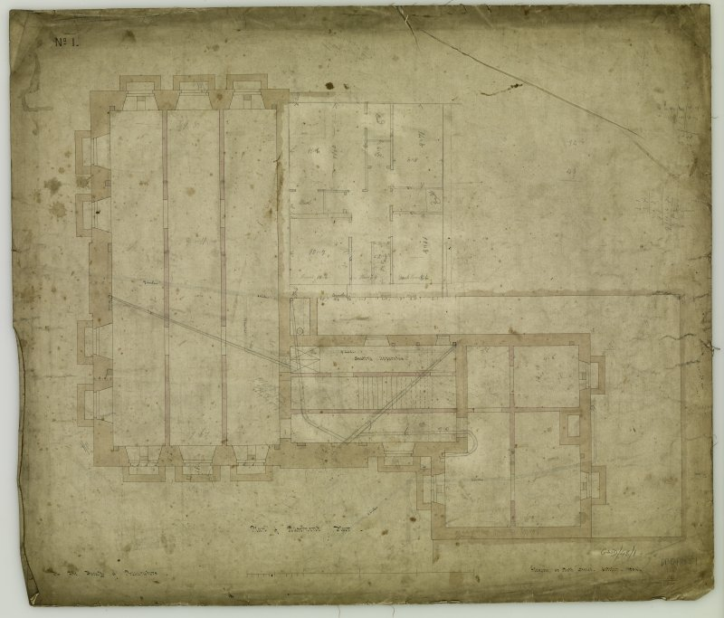 Annotated plan of basement floor. Titled: 'Plan of Basement Floor.  For The Faculty of Procurators.  Glasgow  33 Bath Street, October, 1854'