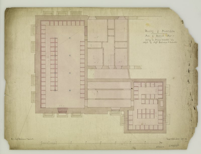Annotated plan of basement floor. Titled: 'Faculty of Procurators  Plan of Basement Floor - shewing the Premises tinted Red to be occupied by Messrs Buchanan & Lochart.  For Messrs Buchanan & Lochart.  Glasgow  33 Bath Street - Sept. - 1856 -'.