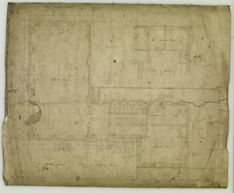 Annotated plan of ground floor, showing fronts to West Nile Street, West George Street and St George's Place, now Nelson Mandela Place. Titled: 'Plan of Ground Floor  For The Faculty of Procurators.  Glasgow  33 Bath Street.  October, 1854.'
