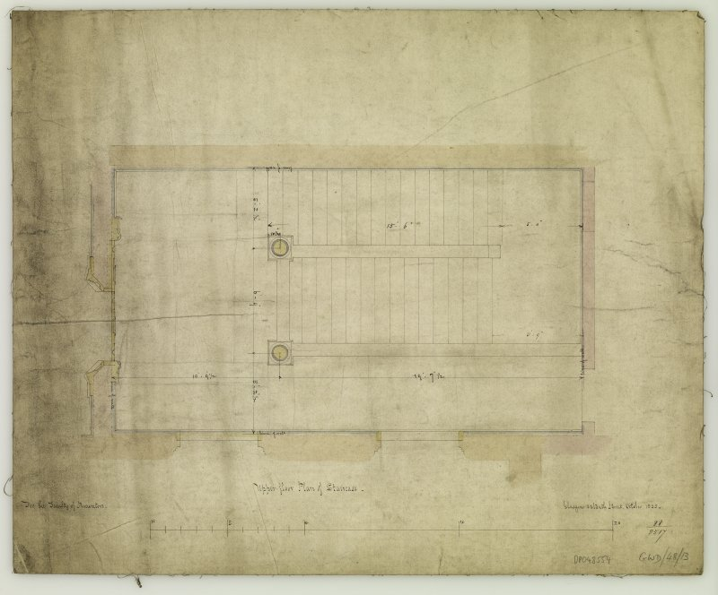 Staircase plan. Titled: 'Upper-floor  Plan of Staircase.  For The Faculty of Procurators.  Glasgow  33 Bath Street  October 1855.'