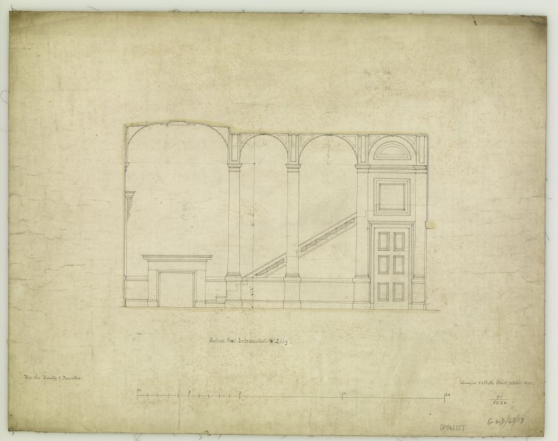 Section. Titled: 'Section thro' Entrance Hall & Lobby.  For The Faculty of Procurators.  Glasgow  33 Bath Street  October 1855.'