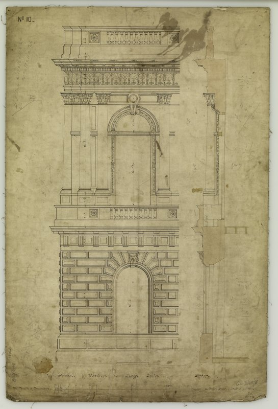 Compartment of elevation and section. Titled: 'Compartment of Elevation to Large Scale - Section -  For the Faculty of Procurators -  Glasgow  3  Bath Street, November, 1854'.