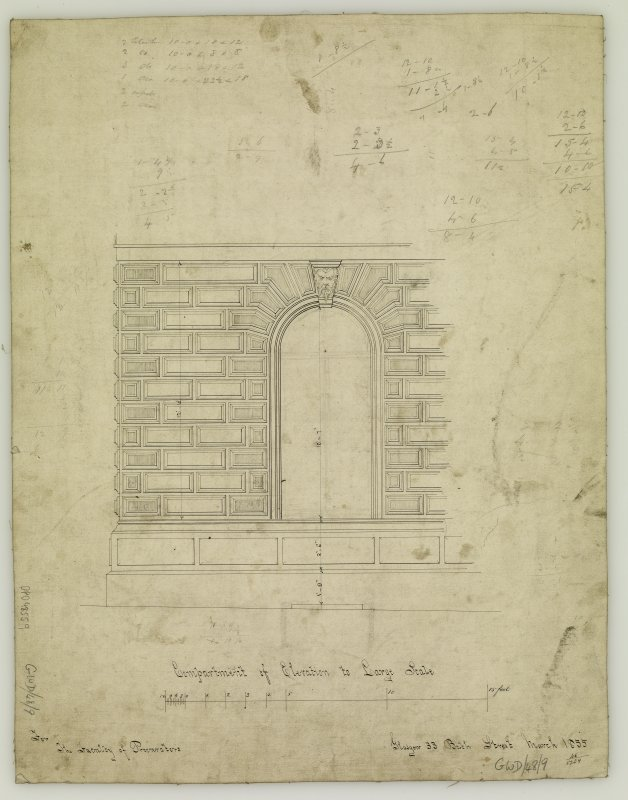 Annotated compartment of elevation. Titled: 'Compartment of Elevation to Large Scale  For The Faculty of Procurators.  Glasgow  33 Bath Street  March 1855.'
