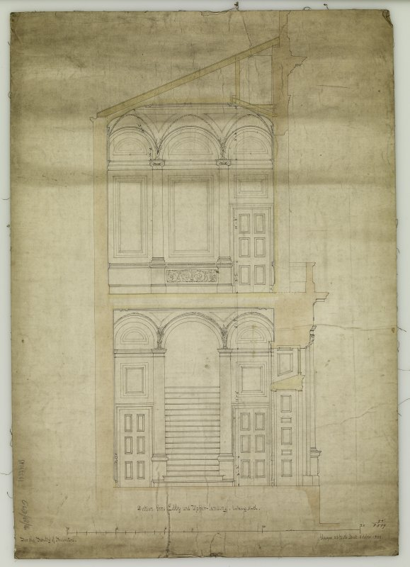 Section. Titled: 'Section thro Lobby and Upper-landing - looking North.  For The Faculty of Procurators.  Glasgow  33 Bath Street  October 1855.'