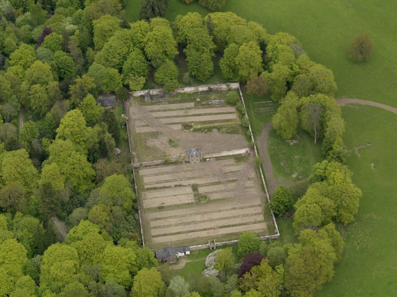 Oblique aerial view centred on the walled garden, taken from the SSE.