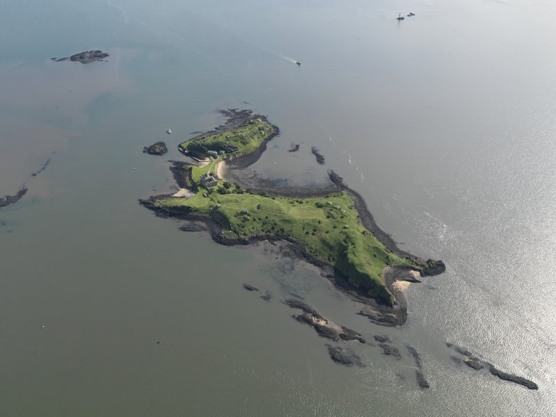 General oblique aerial view of Inchcolm, taken from the W.