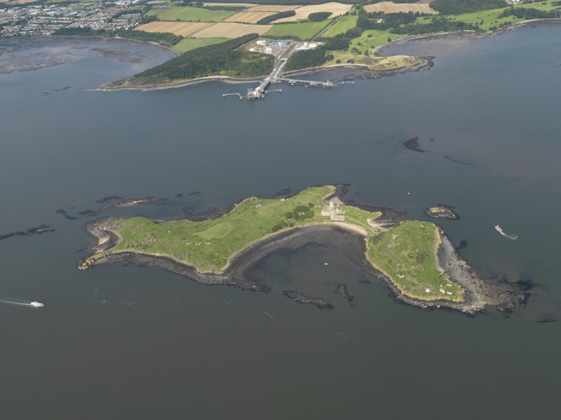 General oblique aerial view of Inchcolm, taken from the SSE.