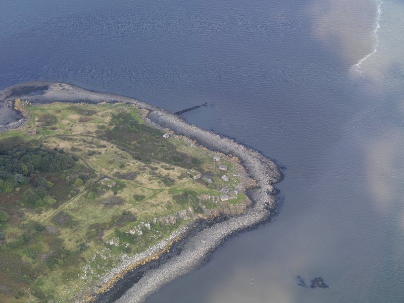Oblique aerial view of Cramond Island, taken from the SSE, centred on The Binks, taken from the SSE.