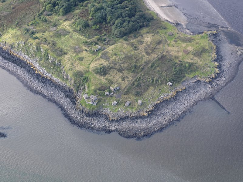 Oblique aerial view of Cramond Island, centred on The Binks.