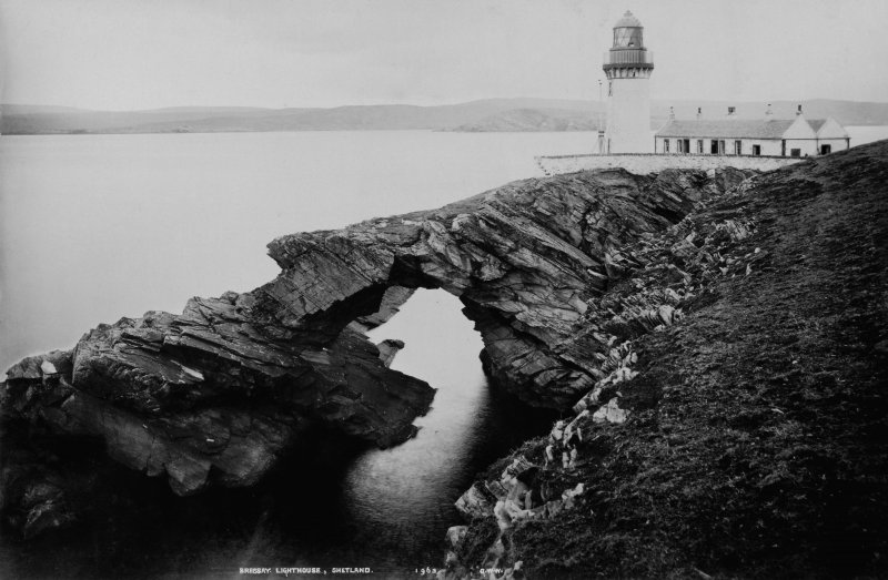 View of Bressay lighthouse.  Titled: 'Bressay Ligthhouse, Shetland. 1963 G.W.W'