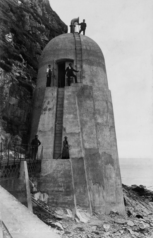 View of north fog horn on Ailsa Craig.  Titled: 'North Fog Horn, Ailsa Craig'.