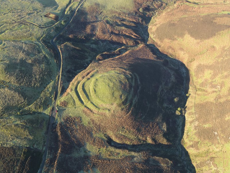 Oblique aerial view of the remains of White Castle fort, taken from the SE.
