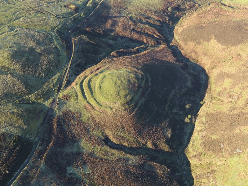 Oblique aerial view of the remains of White Castle fort, taken from the ESE.