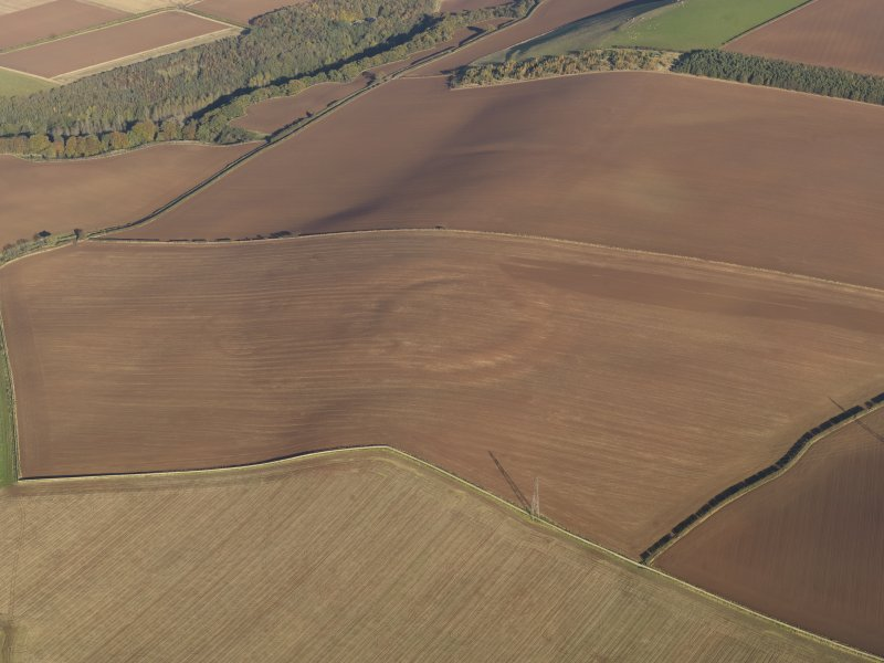 General oblique aerial view of the soilmarks of the fort of The Chesters, Spott, taken from the SW.
