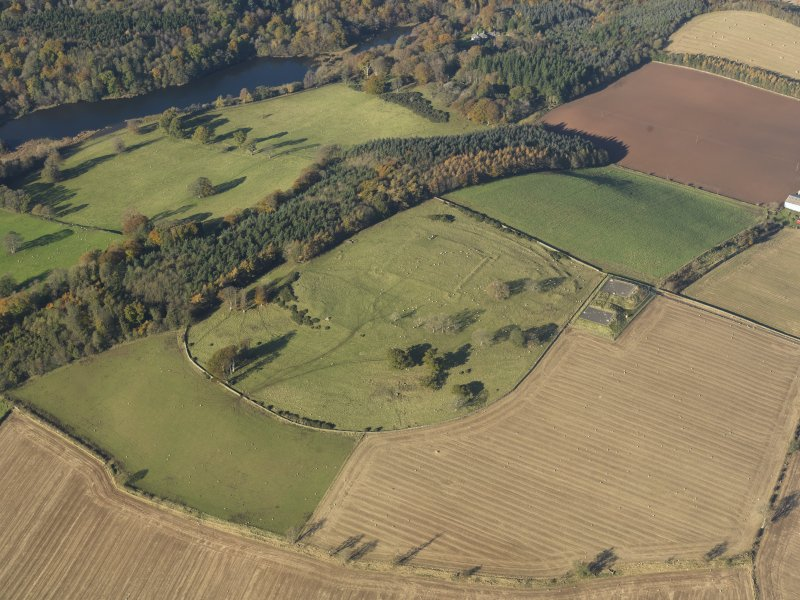 Oblique aerial view of the remains of the fort and redoubt at Duns Law, taken from the ESE.