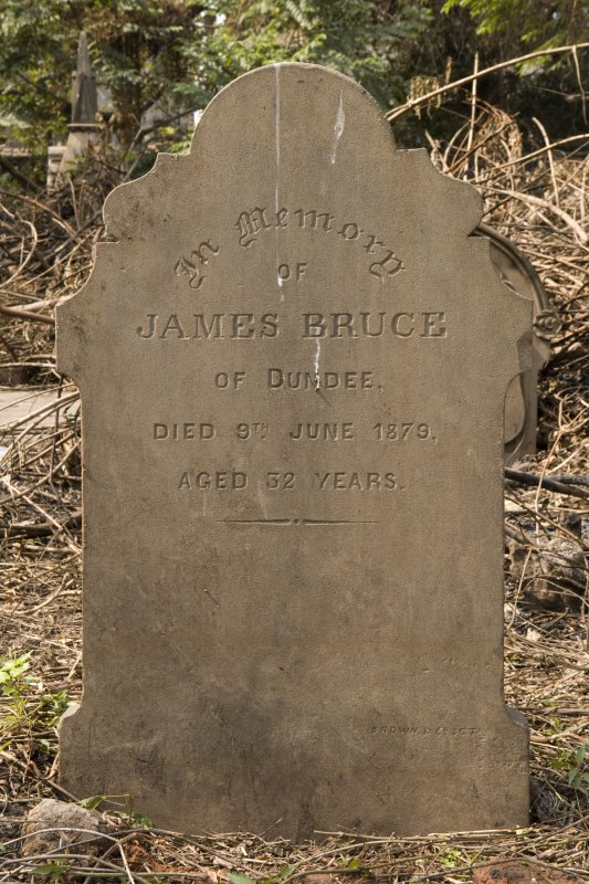 James Bruce, detail of headstone
