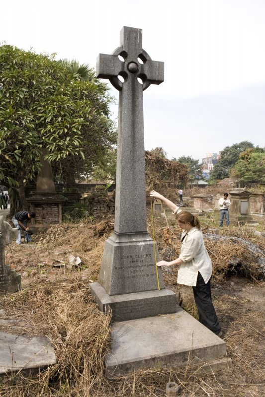 Grave plot no. 875 with Amanda Gow measuring monument