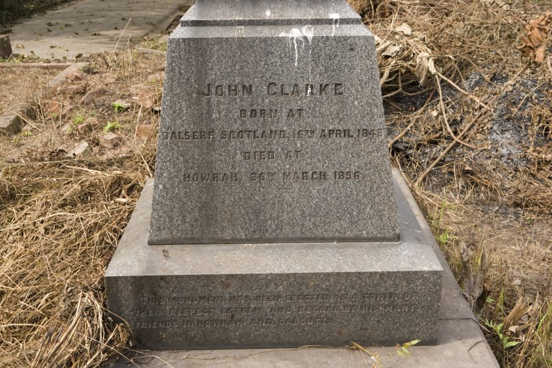 Grave plot no. 875, John Clarke, detail of inscription