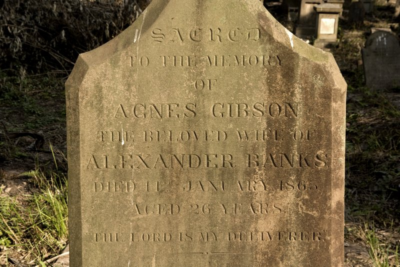 Agnes Gibson, detail of inscription