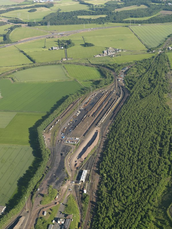 Oblique aerial view of the marshalling yard, taken from the NNW.