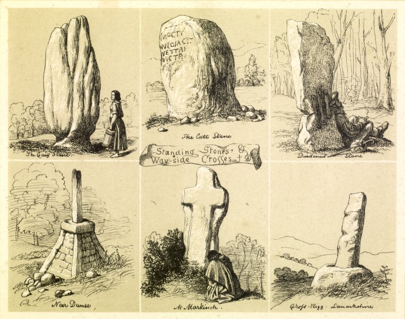 Drawing showing view of six Standing Stones and Wayside Crosses by James Drummond 1840. Inscribed: 'Standing Stones and Wayside Crosses. No. 1 The Caiy Stane, near Edinburgh. No. 2 Dardanus' Stane, Aberdeenshire. No. 3 The Catt- Stane, Kirliston. No. 4 Wayside Cross at Preston, near Dunse. No. 5 Wayside Cross at Markinch. No.6 Wayside Cross at Cross-Rigg, near Biggar.'