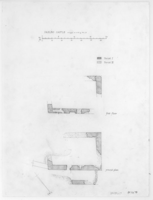 Skelbo Castle. Ground and First floor plans
