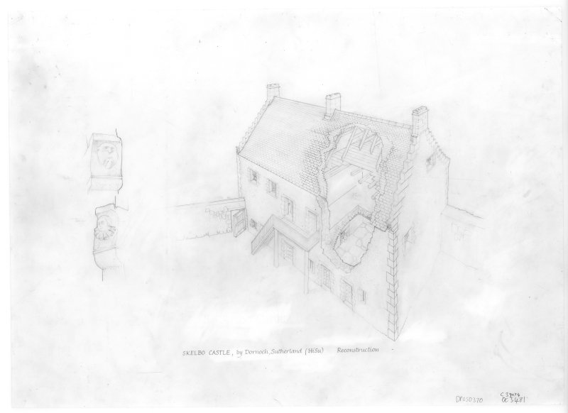Skelbo Castle. Sketch reconstruction-axometric view; Perspective sketches of stone carved heads