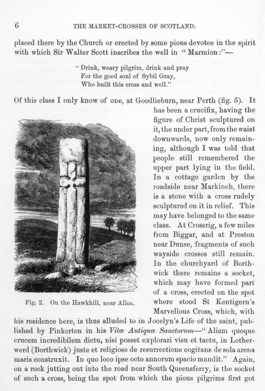 Page 6 of Market-Crosses of Scotland. Includes an engraving of 'Fig 2. On the Hawkhill, near Alloa.' Inscribed: '...tiquaries from time immemorial. Next comes a rude attempt at art, a good specimen of which stands near Hume Castle, having incised upon it on one side the figure of a knight with his hound at his feet, and on the other his shield and sword, terminating with a cross enclosed in a circle...