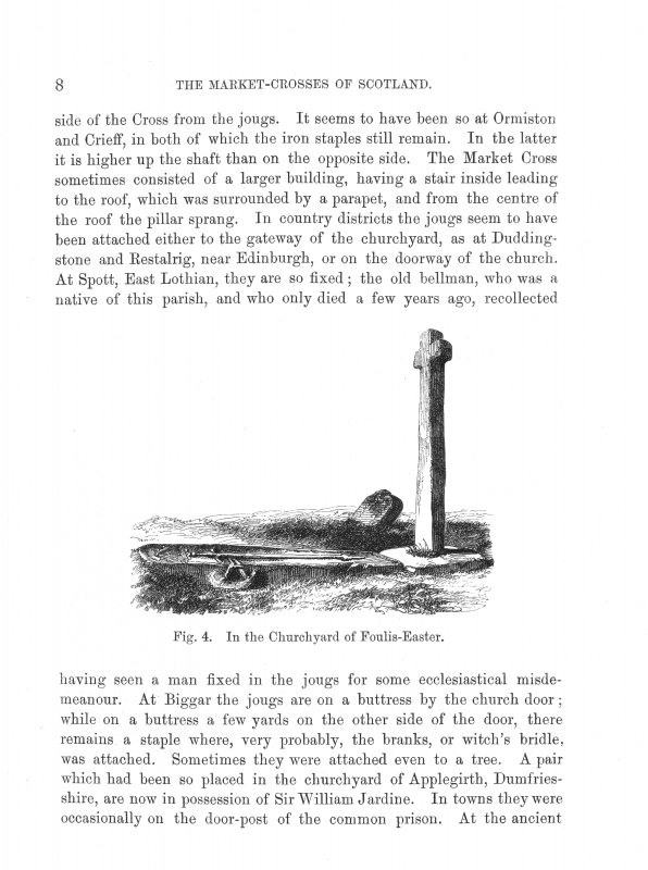 Page 6 of Market-Crosses of Scotland. Includes an engraving of 'Fig. 2. On the Hawkhill, near Alloa.' Inscribed: '...placed there by the Church or erected by some pious devotee in the spirit with which Sir Walter Scott inscribes the well in ''Marmion:''- ''Drink, weary pilgrim, drink and pray                                                                                          For the good soul of Sybil Gray,                                                                                          Who built this cross and well.''