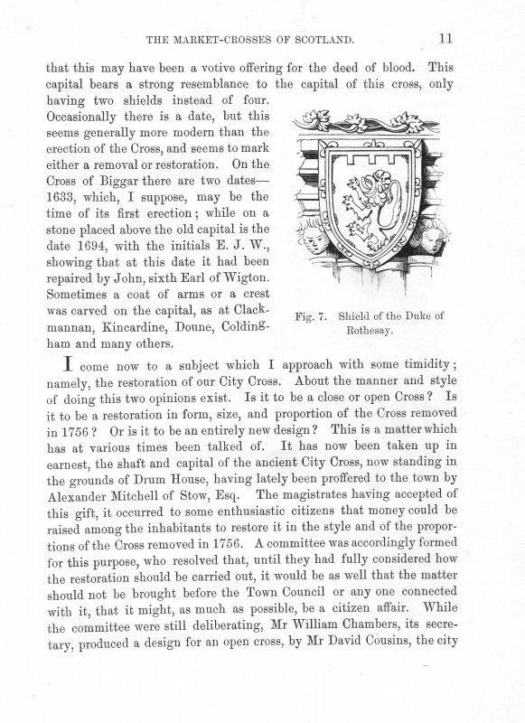 Page 8 of Market Crosses of Scotland. Includes an engraving of 'Fig. 4. In the Churchyard of Foulis-Easter.' Inscribed: '...side of the Cross from the jougs. It seems to have been so at Ormiston and Crieff, in both of which the iron staples still remain.''
