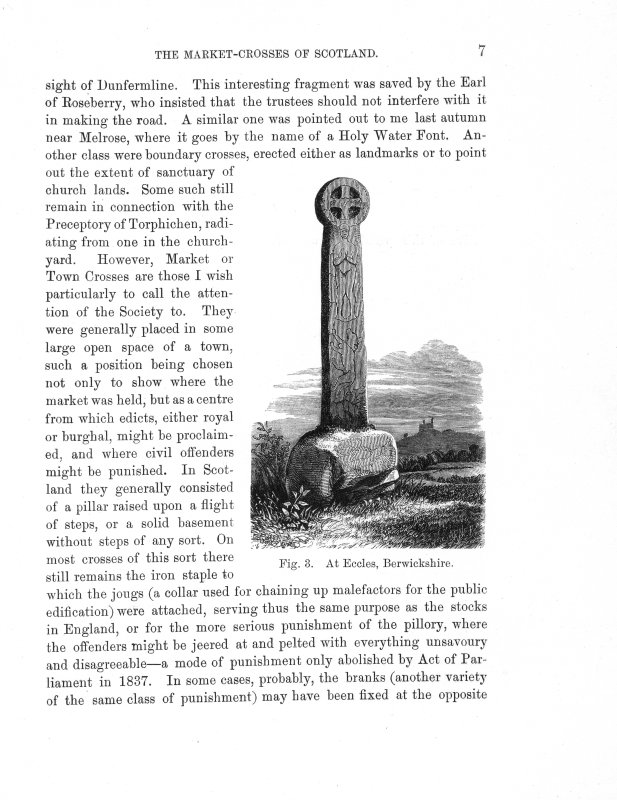 Page 10 of Market-Crosses of Scotland. Includes an engraving of 'Fig. 6. Market-Cross, Cockburnspath.' Inscribed: '...sculptured on it, the ecclesiastical character is lost. But the most beautiful of all Scottish market-crosses I have yet seen is that of Inverkeithing (see Plate II), seeming to me to possess all the requisites of such an erection. It is heraldic (which, fortunately, fixes its date), has a sun-dial, which is again surmounted by the Scottish Unicorn, with the shield.''