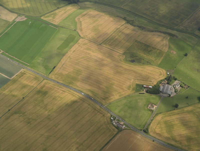 Oblique aerial view of the cropmarks of the barrow, ring ditches and pits at Easter Kinnear with the farmsteading adjacent, taken from the WNW.