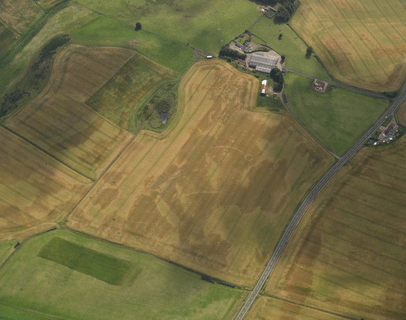 Oblique aerial view of the cropmarks of the barrow, ring ditches and pits at Easter Kinnear with the farmsteading adjacent, taken from the NNE.