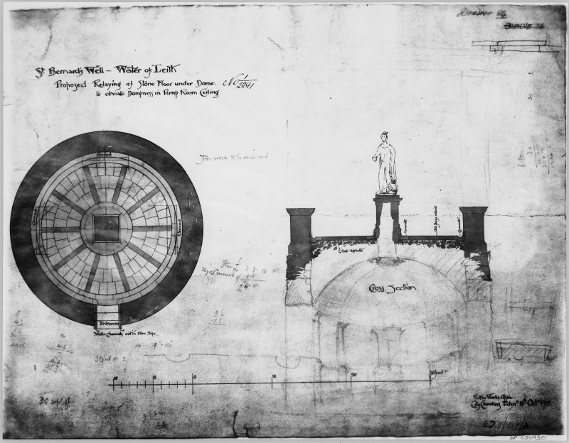 Proposed relaying of stone floor under dome to obviate dampness in pump room ceiling: plan and cross-section. Drawing No.1/2291.  Insc: 'Public Works Office. City Chambers Edin 10th Mar 1901'