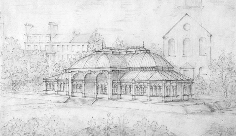 Sheet 2   Closer view showing St Cuthbert's, James Weir building Princes Street Gardens, set of 6 sketches of proposed Winter Garden