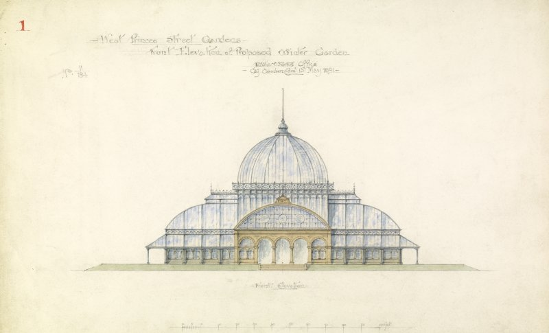 Sheet 5  Elevation Princes Street Gardens, set of 9 drawings of proposed Winter Garden