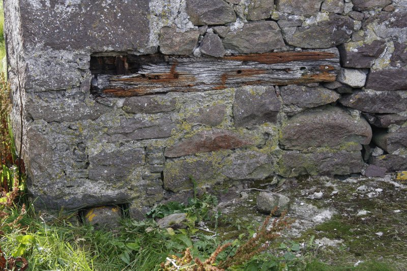 Kearvaig Farmsteading. View from E of a timber feature set into the internal face of the W gable wall of the range.