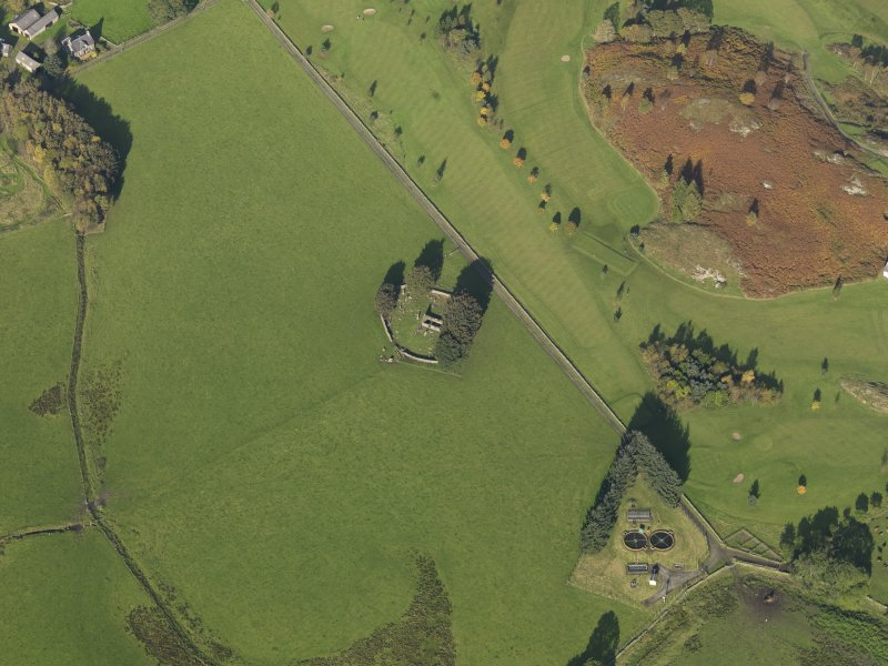 Oblique aerial view centred on the remains of St Fillans chapel, taken from the S.