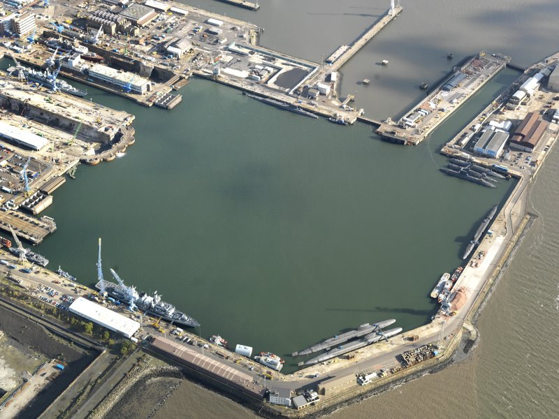Oblique aerial view centred on the main basin, taken from the WSW.