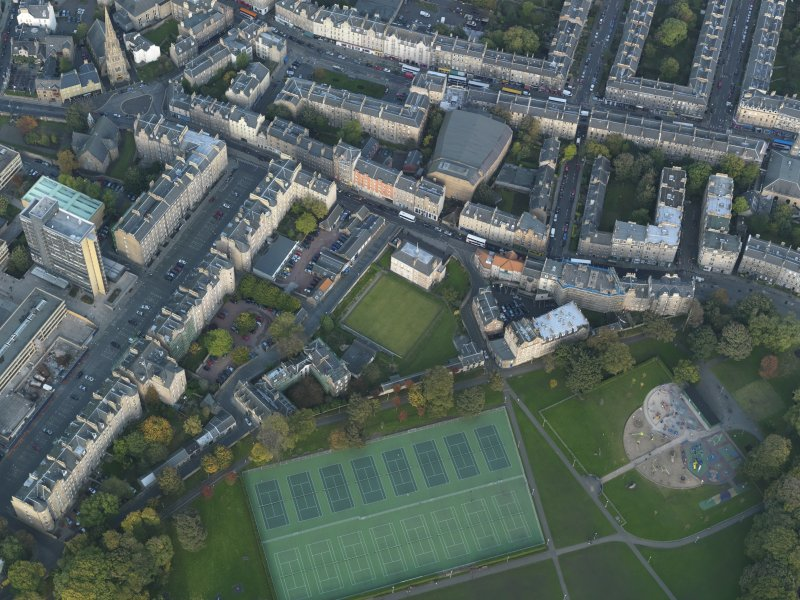 Oblique aerial view centred on Meadow Lane with Buccleuch Street adjacent, taken from the SW.