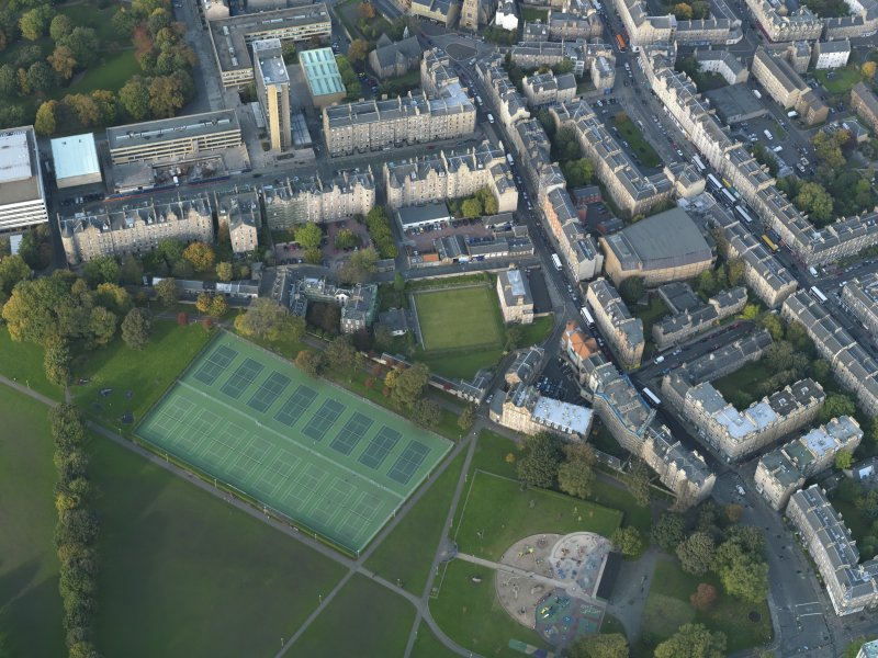 Oblique aerial view centred on Meadow Lane with Buccleuch Street adjacent, taken from the S.