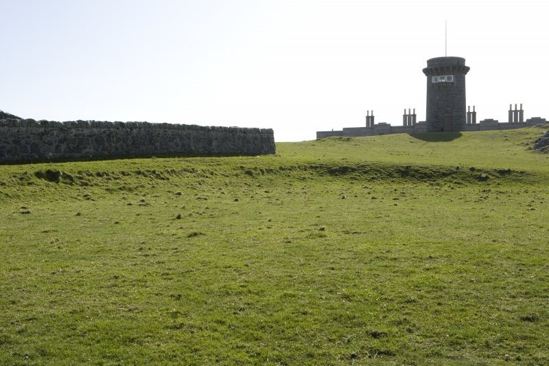 Signal tower from north east, with area in foreground used to assemble stone blocks prior to transporting to Skerryvore.