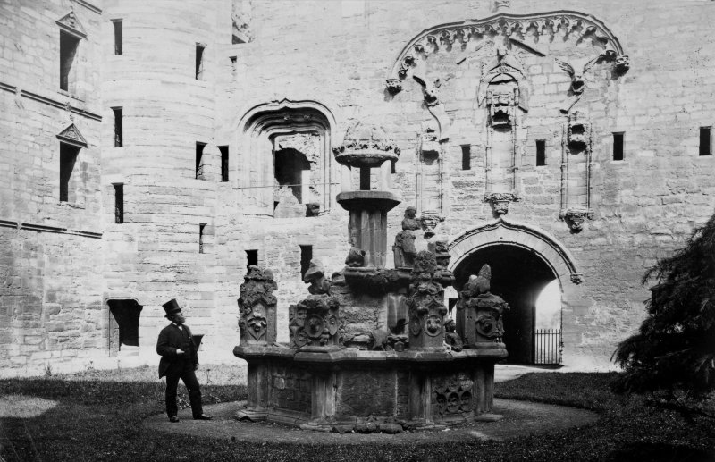 Linlithgow Palace, General view of courtyard and fountain.